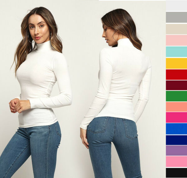 S M L Women#x27;s Basic Turtleneck Top Soft Stretch Knit Cotton Solids Long Sleeve