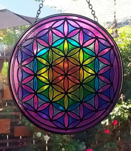 Large Hanging Stained Glass Look FLOWER OF LIFE SUNCATCHER CHAKRA