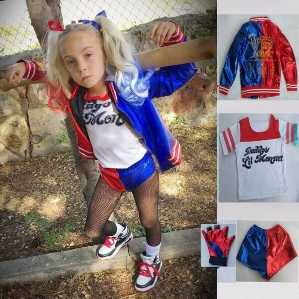 Christmas Kids Girl Costume Suicide Squad Harley Quinn Cosplay Party Fancy Dress $29.99