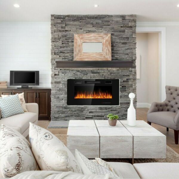 Recessed Ultra Thin Wall Mounted Electric Fireplace 36quot;