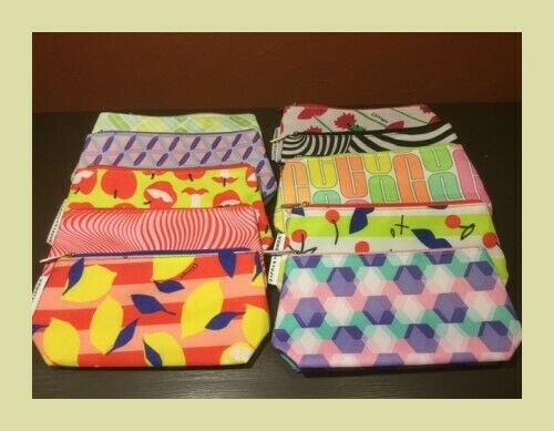 Clinique Lot of 10 Zippered Cosmetics Makeup Travel Bags *NEW* 10 Prints $13.99