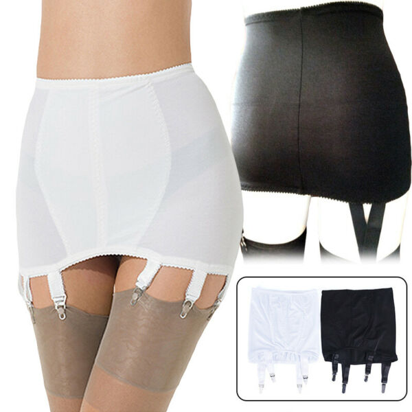 Women Floral Edge Cloth Girdle Vintage Garter Belt 4 Straps Suspender Belt