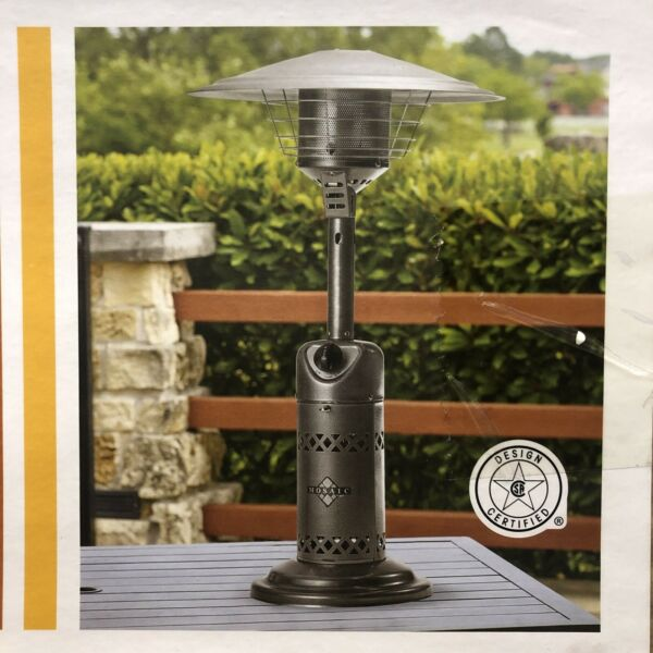 Mosaic Tabletop Propane Patio Heater 10000 BTU Outdoor Silver New Sealed