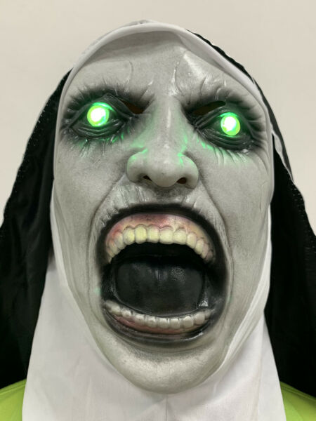 Halloween The Nun Horror Mask Cosplay Valak Scary Latex Masks with Headscarf