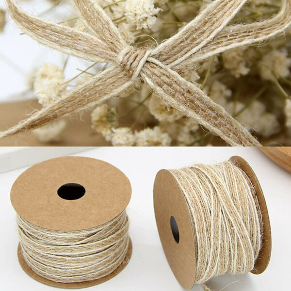 Twine String Natural Burlap Ribbon Roll For DIY Art Crafts Wedding Decorations E