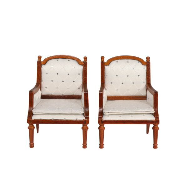 Set 2 Wooden Dollhouse Armchairs Dinning Lounge Chairs Dolls Furniture Brown $17.95