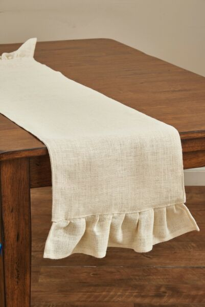 Table Runner 60quot; L Jute Burlap in Cream by Park Designs Kitchen Dining