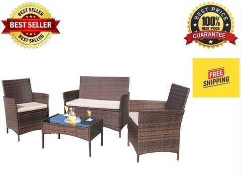 4 Pieces Outdoor Patio Furniture Sets Sectional Sofa Rattan Chair Wicker Set Br $150.00