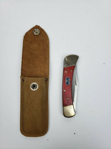 Buck Knives 110 Folding Hunting Knife w Leather Sheath Cherrywood Handle