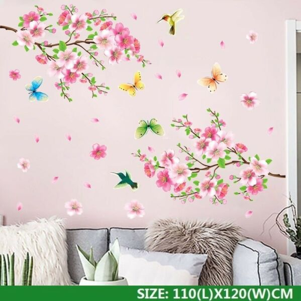 Cherry Blossom Wall Decal Pink Flower Tree Wall Decal For Home Nursery Decor USA