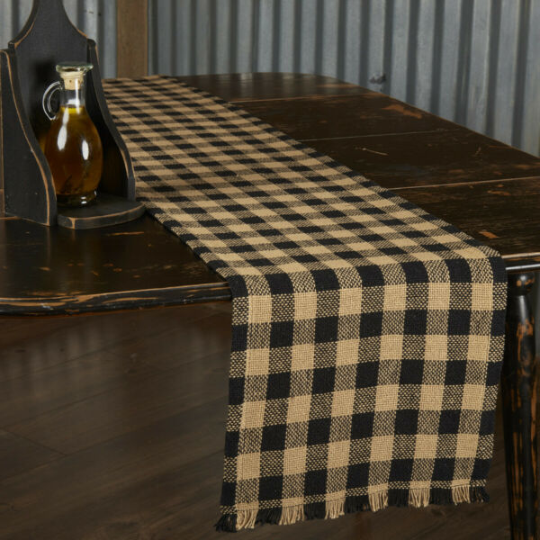 New Primitive Farmhouse Cabin Rustic Checked Tan Black Burlap Table Runner 72quot;