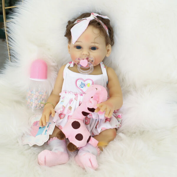 Lifelike Reborn Baby Dolls Rooted Hair Girls Silicone Full Body Reborn Dolls 18quot;