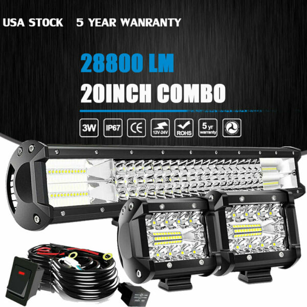 20 22inch LED Light Bar Spot Flood Combo 2x 4quot; Pods Wiring For Jeep Truck SUV