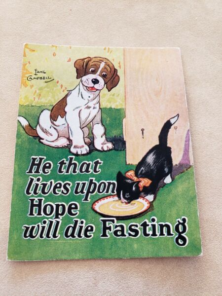 Vintage Campbell Motto Dog Puppies Ink Blotter Card Paper $5.99