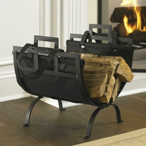Firewood Log Storage Rack Indoor Fireplace Iron Holder with Canvas Tote Carrier