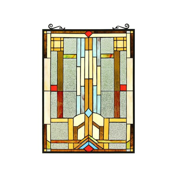 Stained Glass Arts amp; Crafts Design Tiffany Style Window Panel 18quot; W x 24quot; T