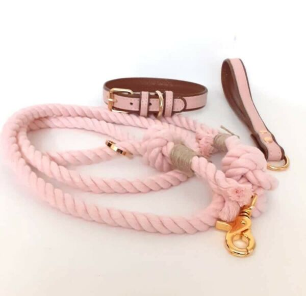 BULPET Eco Friendly Luxury Dog Cotton Handmade Heavy Duty Rope Leash and Collar $19.60