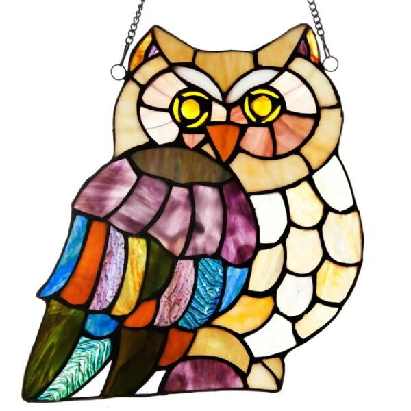 Stained Glass Window Panel Owl Hanging Tiffany Style Accent Light Sun Catcher
