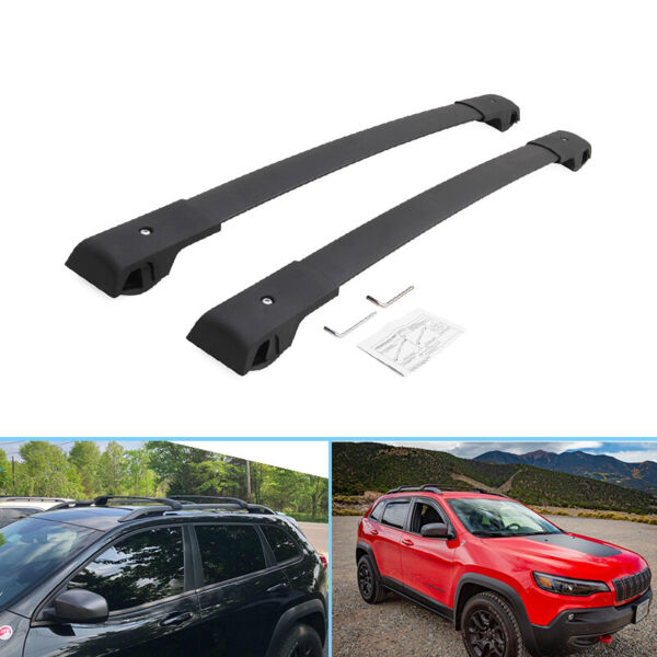 2 Pieces Black Roof Racks Fit for Jeep Cherokee 2014 2021 Crossbars Carrier $66.00