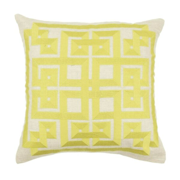 Set Of 2 Pillow Covers Geometric Embroidery Linen Couch Cushion Case 18quot; x 18quot; $17.48