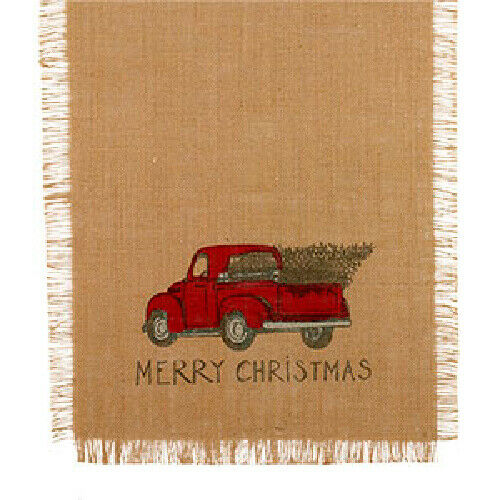 New Primitive Farmhous VINTAGE RED TRUCK MERRY CHRISTMAS BURLAP Table Runner 36quot;