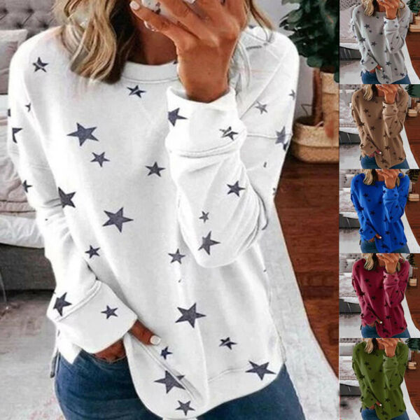 Womens Autumn Long Sleeve Floral T Shirt Causal Plus Size O Neck Tops Blouse US