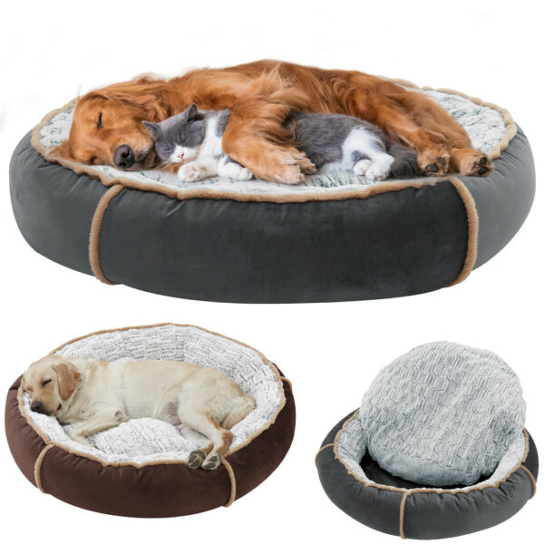 Anti anxiety Dog Bed Thicken Round Pillowtop Dog Couch Bed Keep Pet Sleep Well $46.95
