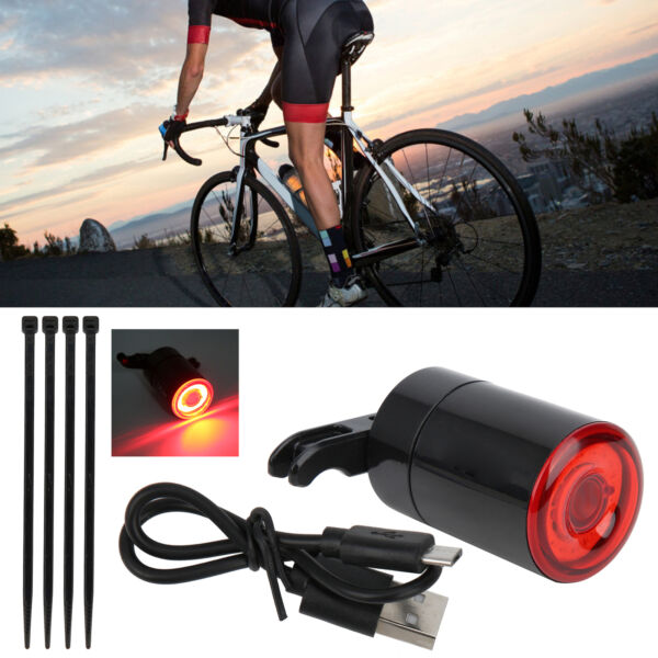 Bike Smart Sensor Brake Touching Taillight USB Charging Bicycle Ride Rear Lights $18.82