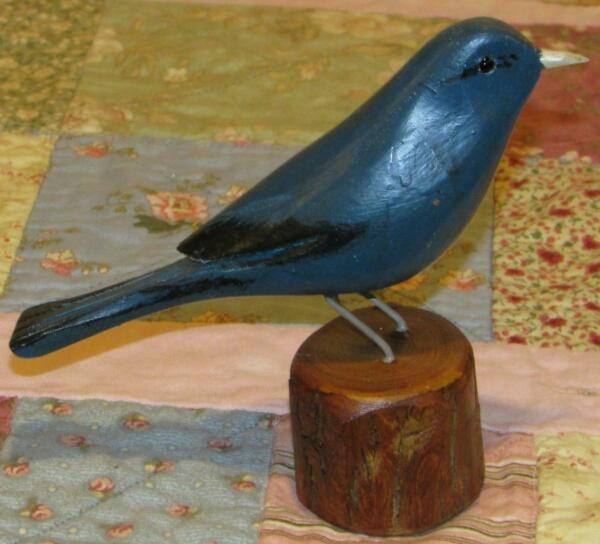 INDIGO BUNTING hand carved JIM SLACK Pekin IL BIRD Figure decoy carver