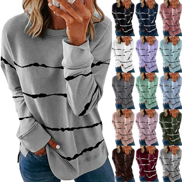 Womens Autumn Long Sleeve Striped T Shirt Causal Plus Size Pullover Tops Blouse $17.49