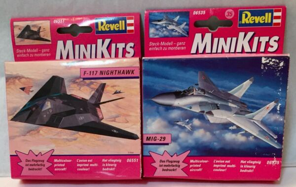 Revell Mini Kits F 117 Nighthawk Stealth Fighter amp; MIG 29 Jets Snap Together