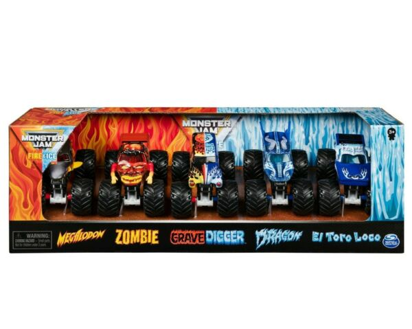 Monster Jam 2020 1:64 Monster Truck Walmart Only FIRE amp; ICE 5 Pack Exclusives $24.95