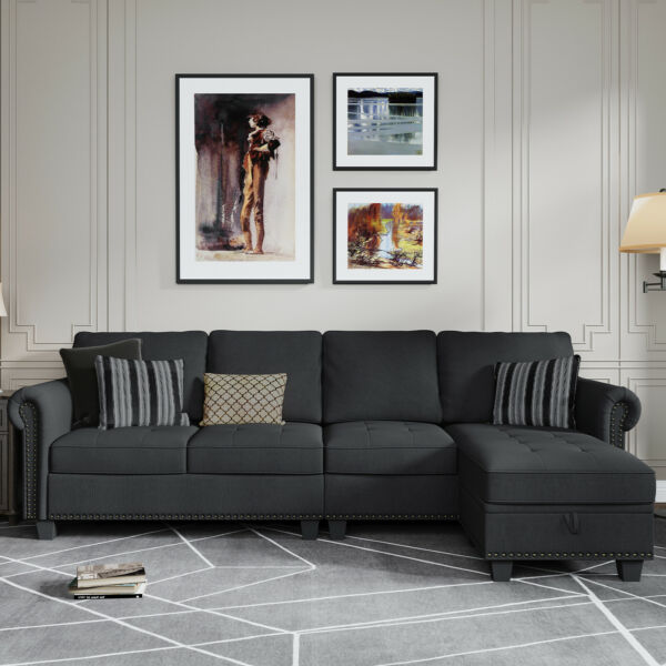 Sectional Sofa Convertible Couch L Shape Sofa Couch 4 seat Dark Grey