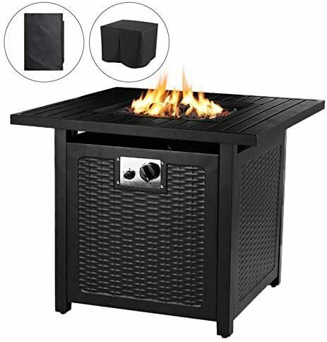 28#x27;#x27; Outdoor Propane Gas Fire Pit Table 50000 BTU Square Gas Firepit with Lid