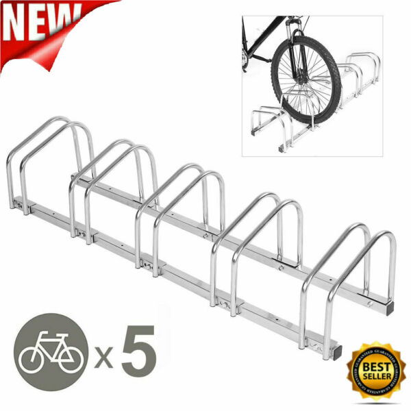 5 Racks Steel Bike Parking Stand Cycle Bicycle Floor Rack Mount Holder Storage $50.14