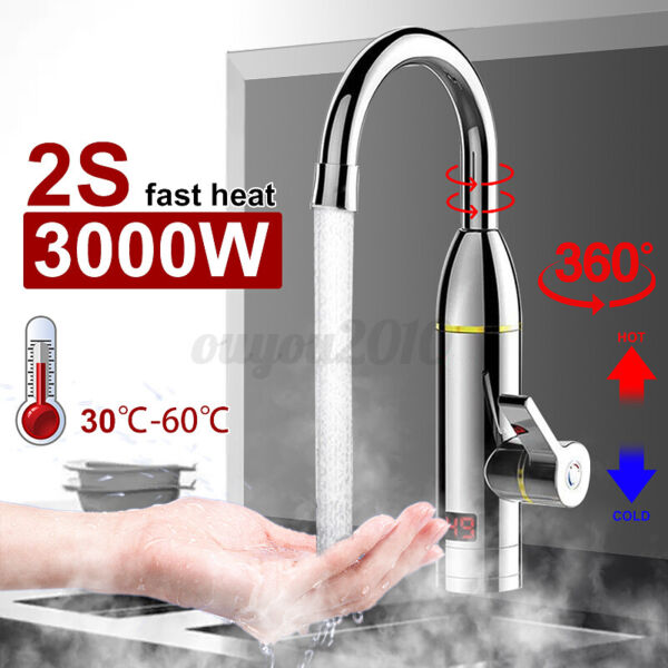 3000W 360° Electric Faucet Tap Instant Hot Water Heater Home Bathroom Kitchen Ф $36.84