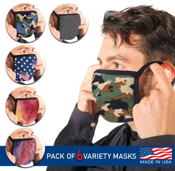 Men#x27;s Reusable Camo Face Covers Cloth Protection Masks Made In The USA Lot of 6