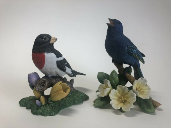 Lot of 2 Lenox Garden Birds Rose breasted Grosbeak and Indigo Bunting