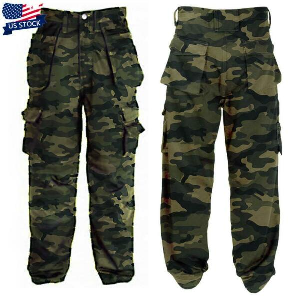 Men#x27;s Casual Army Military Cargo Combat Trousers Camo Camouflage Tactical Pants