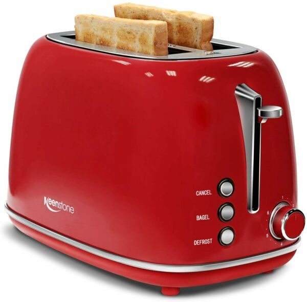 Keenstone Retro 2 Slice Toaster Stainless Steel Toaster with Bagel