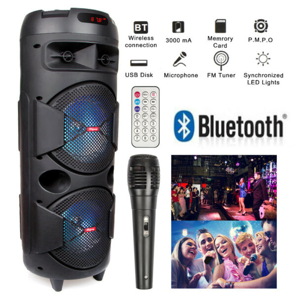 Dual 6.5quot; Woofer Portable FM Bluetooth Party Speaker Heavy Bass Sound With Mic $49.99