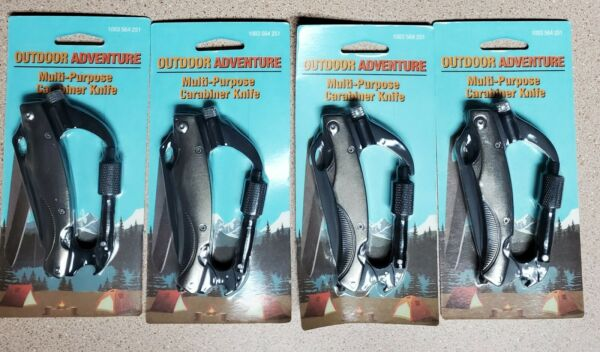 Pack of 4 Outdoor Adventure Multi Purpose Carabiner Knife Brand New  $22.00