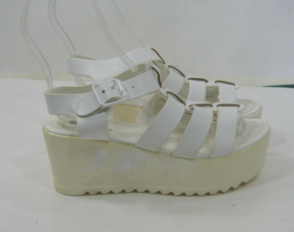 new WHITE 3quot;platform open toe ankle strap Sexy Shoes WOMEN Size 6 $29.97
