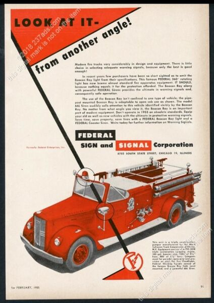 1955 Hanover Township Pennsylvania fire engine truck photo Federal light ad