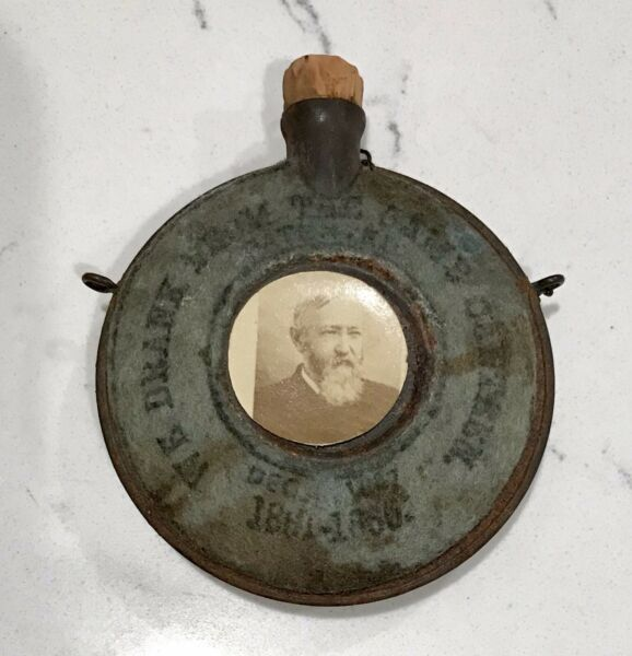 Antique President Benjamin Harrison Campaign Miniature Civil War Canteen amp; Photo