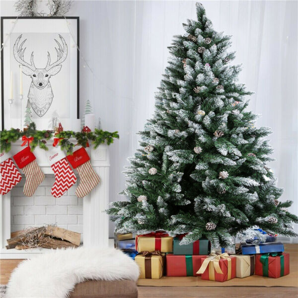 4 5 6 7 Feet Tall Snow Flocked Artificial Xmas Christmas Pine Cone Tree W Stand