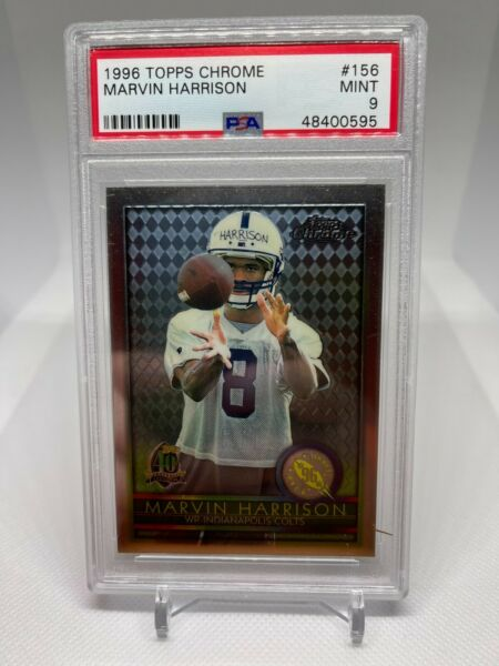 1996 Topps Chrome Marvin Harrison Indianapolis Colts #156 PSA 9 Football Card