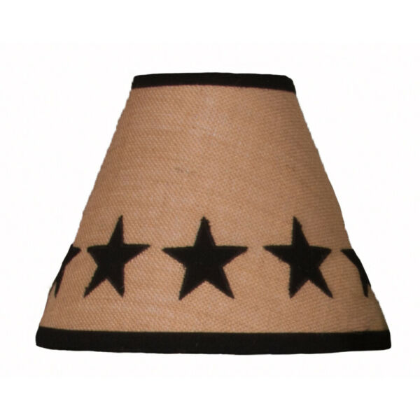 New Primitive Country EMBROIDERED BLACK STAR VINE Burlap Lamp Shade 10quot;