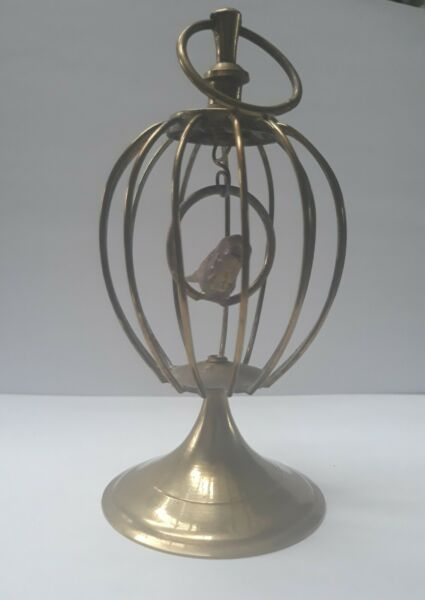 Vintage Brass Decorative Birdcage Swinging Bird Made in India Collectible
