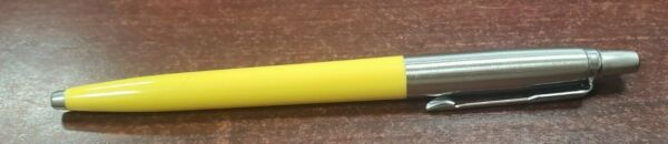 1 YELLOW PARKER JOTTER ORIGINAL BALLPOINT PEN MEDIUM BLACK INK MADE IN FRANCE